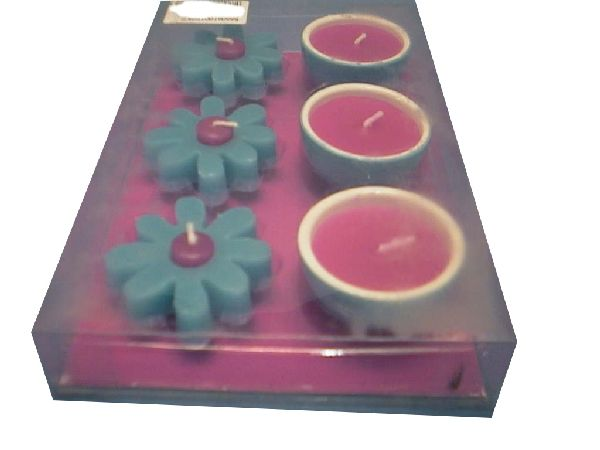 Kerzenset S/6 Blüte+Schale pink+blau 5 cm