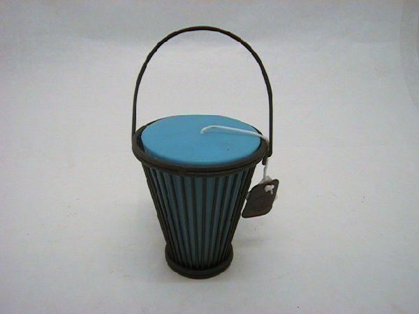 Windlicht i.Metallständer blau d10h12 cm