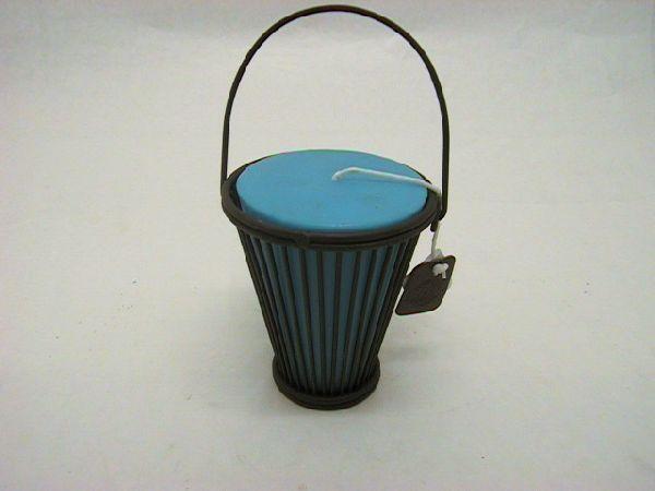 Windlicht i.Metallständer blau d12h15 cm