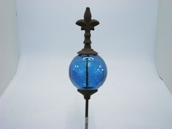 Glaskugel auf Stab mit Lilie BLAU-craqule 115cm D.10cm