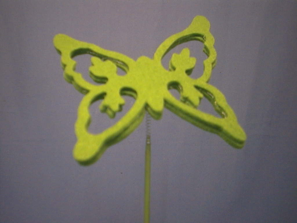 Schmetterling am Stab GRUEN 12x12cm