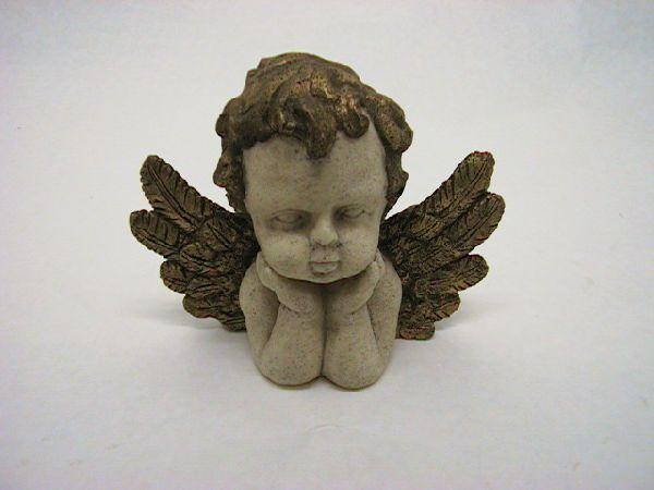 Engel aufgestützt WEISS-GOLD   15cm