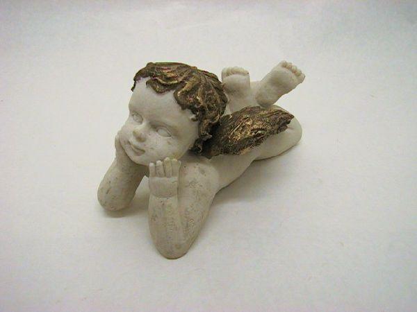 Engel liegend WEISS-GOLD   22cm