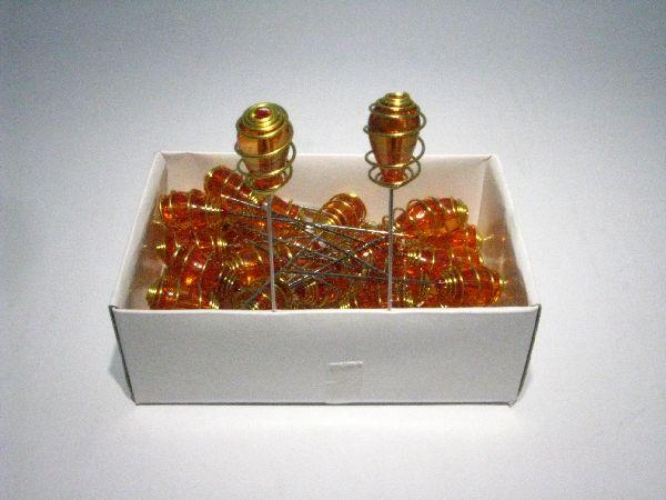 Nadel mit Ornament aus Acryl ORANGE 36 Stück
