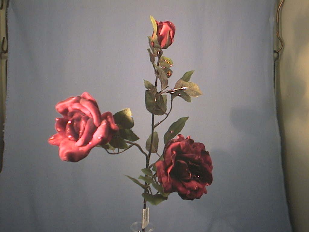 Rose x3 m.Glimmer ROT 66cm