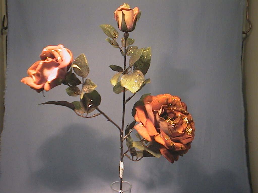 Rose x3 m.Glimmer KUPFER       66cm
