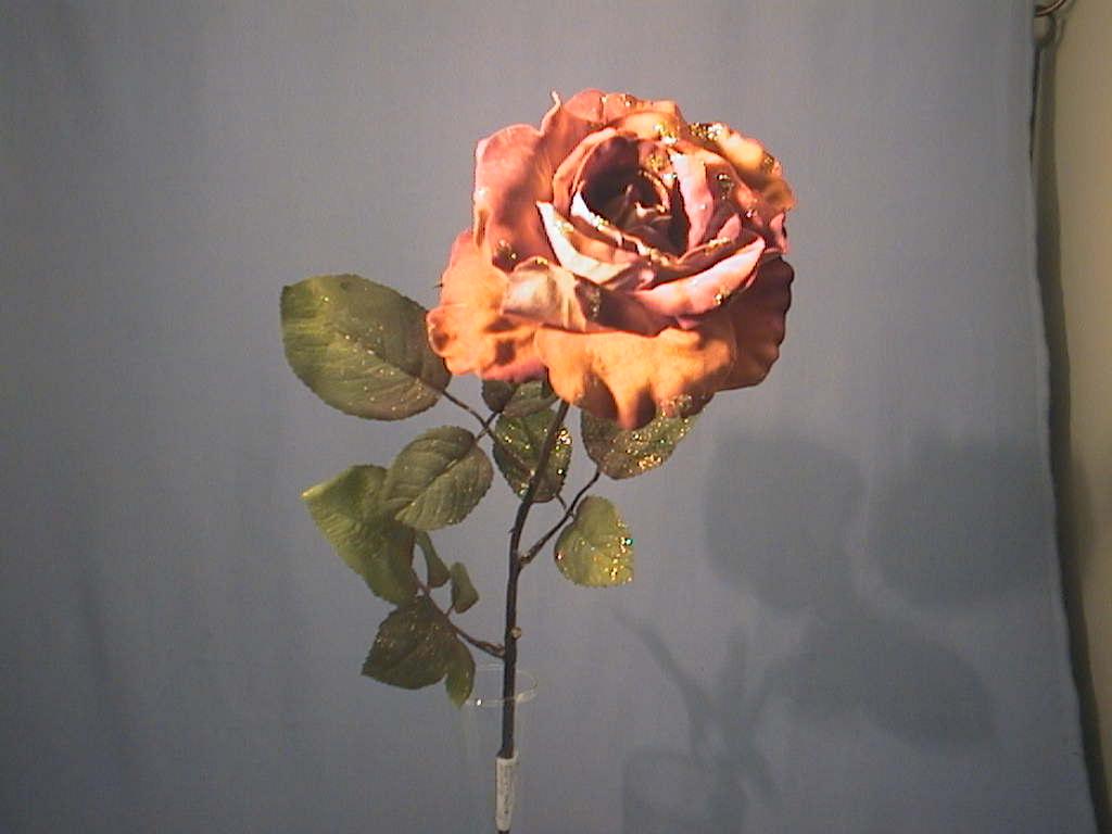 Rose x 1 beglimmert KUPFER 60cm