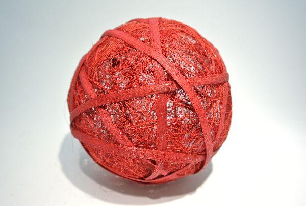 Sisalball, Kugel mit Rattan ROT 13cm leicht beglimmert