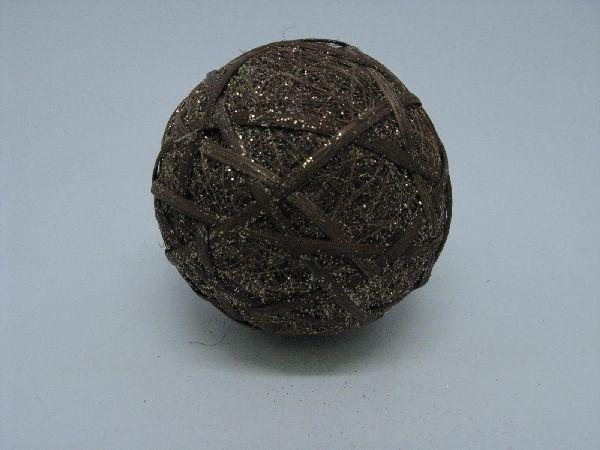 Sisalball, Kugel mit Rattan BRAUN 13cm leicht beglimmert