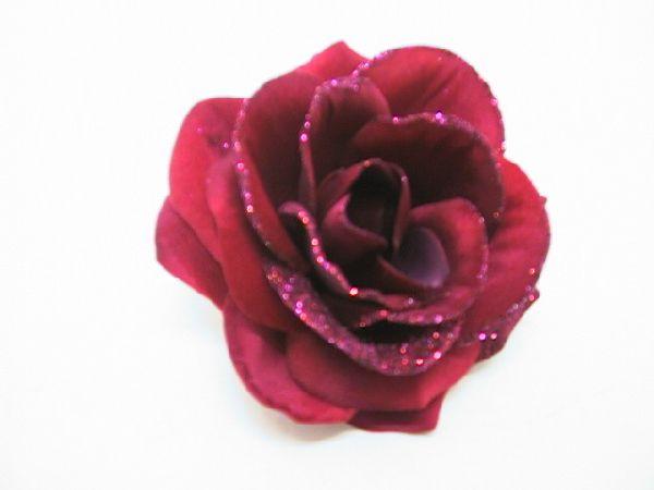 Rose kurze Stiel m.Glitter LILA 12cm