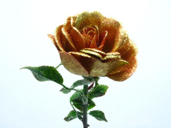 Rose m.Goldglitter BORDEAUX H54x*8cm