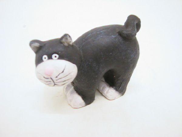 Katze a.Stab SCHWARZ 10cm