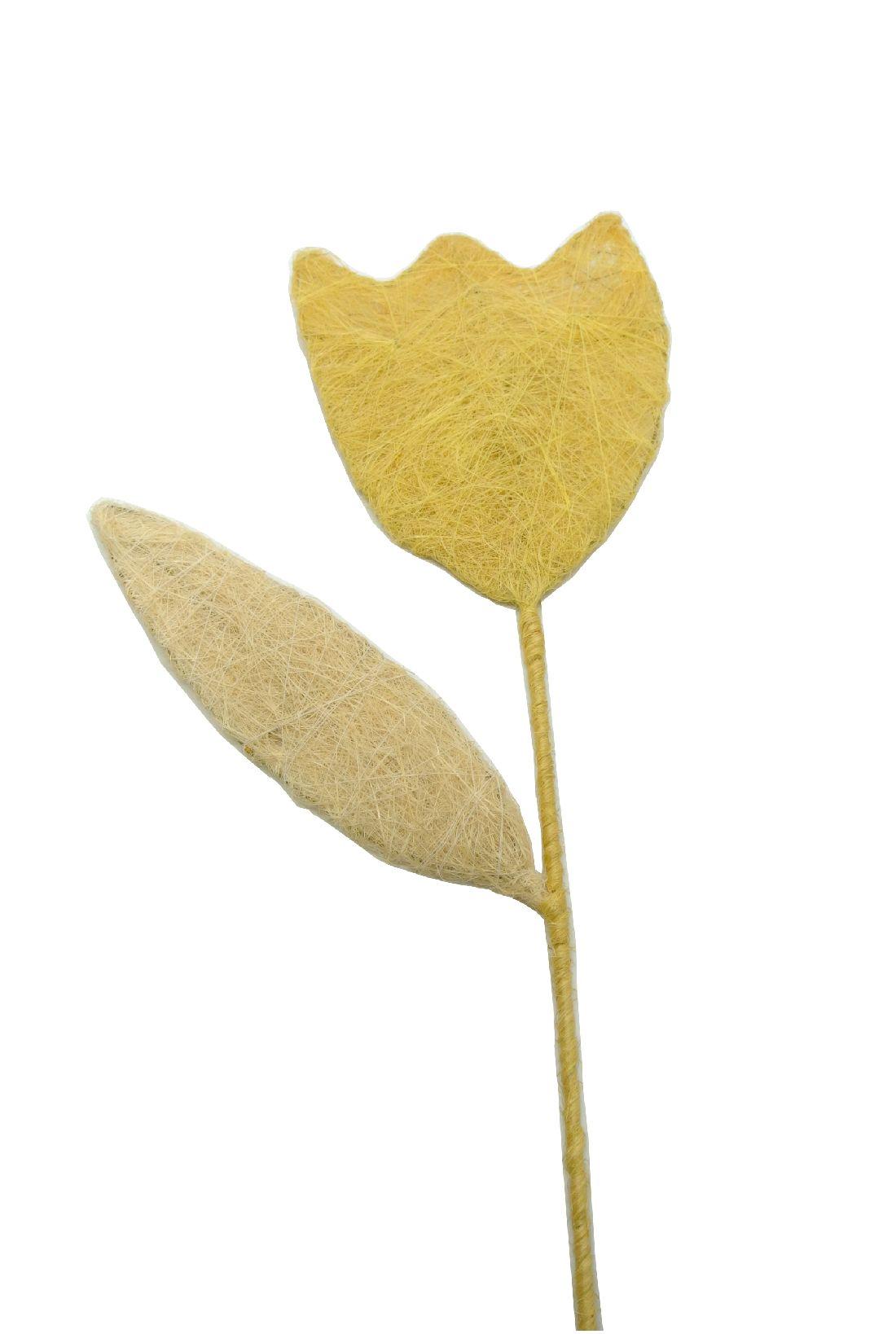 Tulpe mit Blatt Dunkelgelb aus Sisal Höhe 83cm