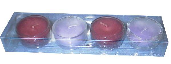 Teelichtgl.m.Wachs S/4 pink/fuchsia 4,5x2,5cm