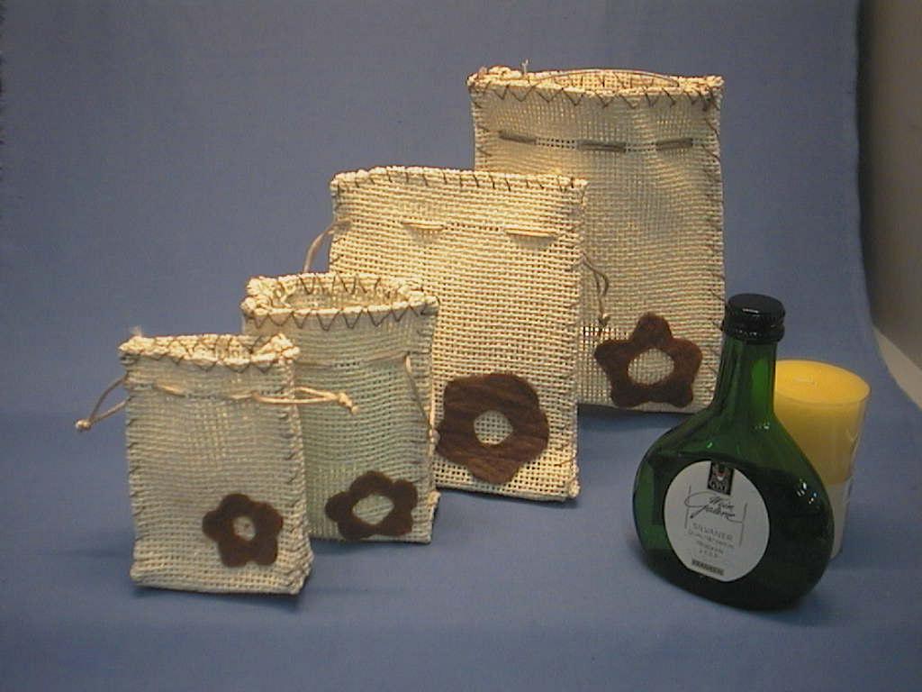 Geschenk-Beutel/Jute-Beutel CREME-BRAUN 14,5x11x4,5cm