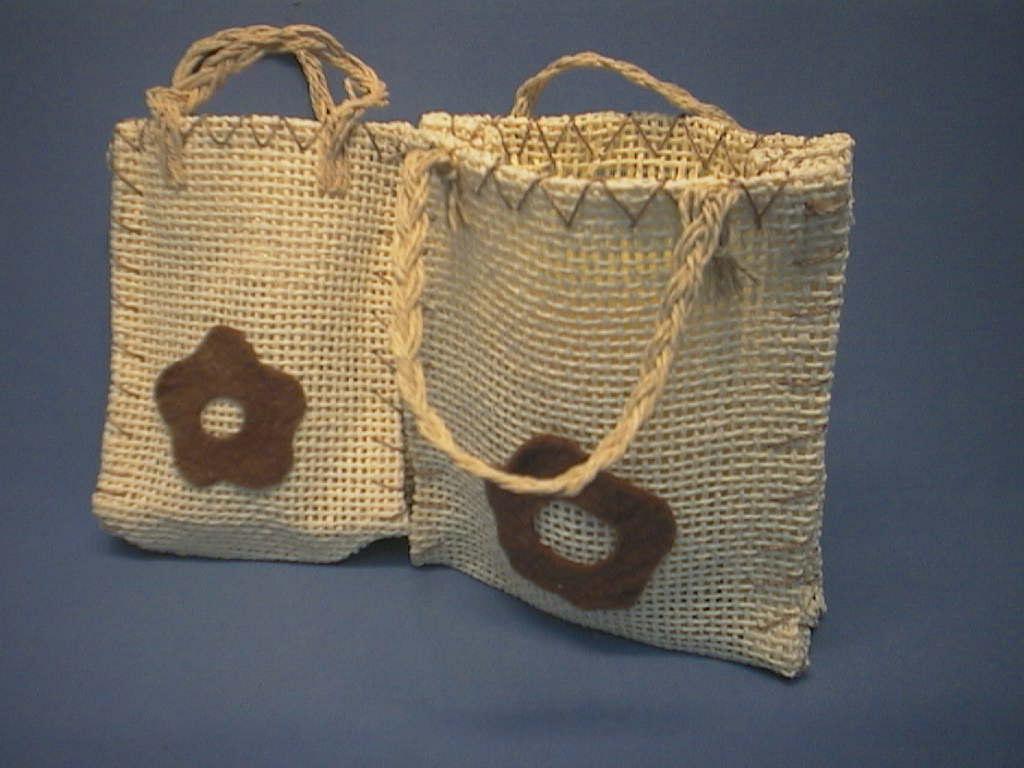 Geschenk-Tasche/Jute-Tasche CREME-BRAUN 13x11,5x4