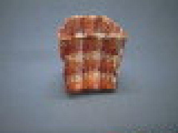 Jutekuebel kariert rot/orange/g 12x11cm