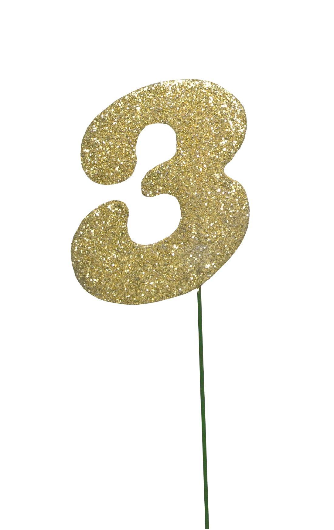 Glimmer-Einzelzahl GOLD 3er