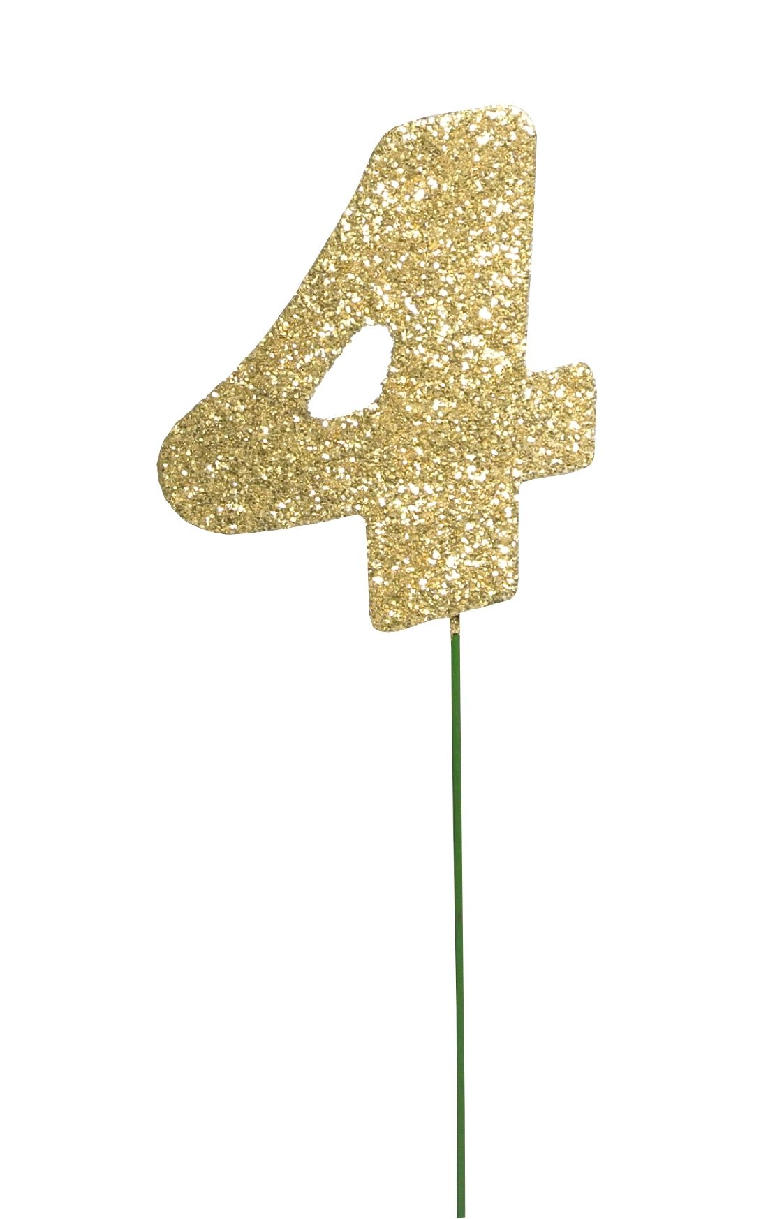 Glimmer-Einzelzahl GOLD 4er