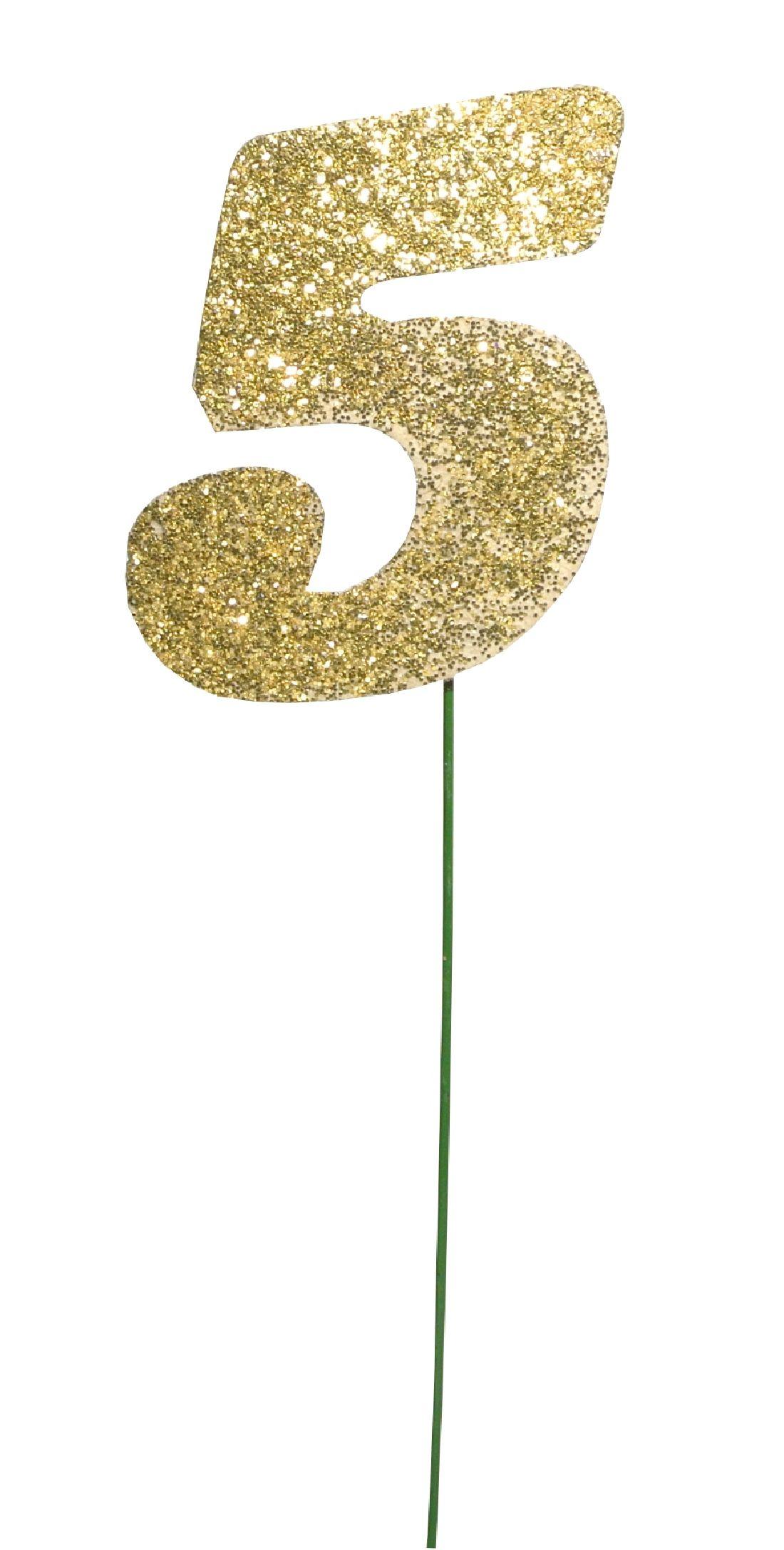 Glimmer-Einzelzahl GOLD 5er