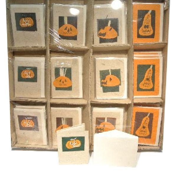 Kartensortiment Halloween ORANGE-NATUR  36 Stück 8x6cm Umschlag u. Kärtchen