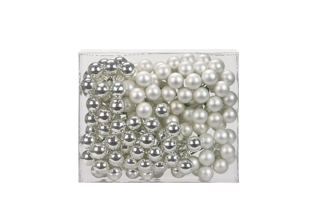 Glaskugeln / Christbaumkugel 12000 SILBER GLANZ/WEISS/MATT 20mm Draht Spiegelbeeren