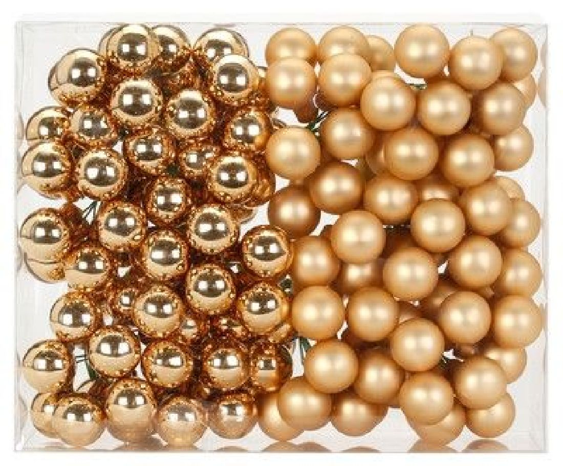 Glaskugeln / Christbaumkugel 12205 BROKAT GOLD GLANZ/MATT 20mm Draht Spiegelbeeren
