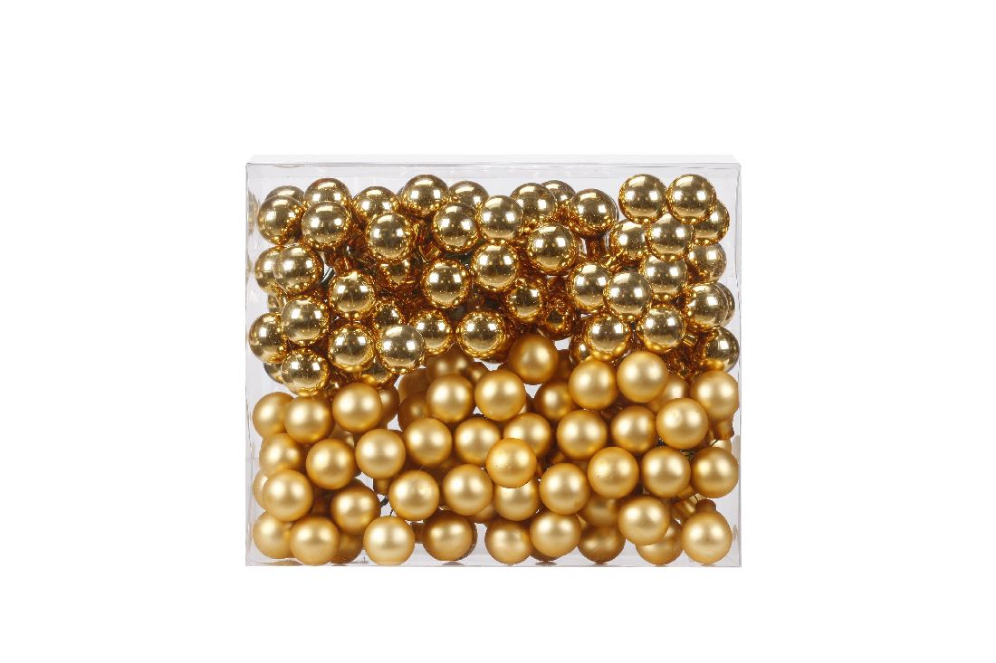 Glaskugeln / Christbaumkugel 12004 GOLD GLANZ/MATT 25mm Draht Spiegelbeeren