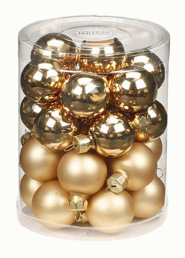Glaskugeln / Christbaumkugel 12205 BROKAT GOLD GLANZ/MATT 30mm 28Stück