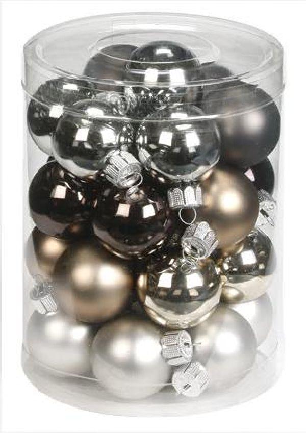 Glaskugeln / Christbaumkugel 15090 GRAU URBAN-GRAPHIC-MIX 30mm 28Stück