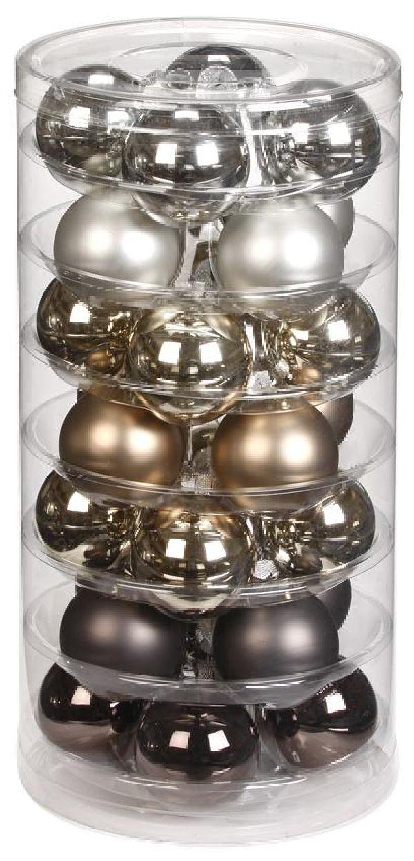 Glaskugeln / Christbaumkugel 15090 GRAU URBAN-GRAPHIC-MIX 45mm 28Stück