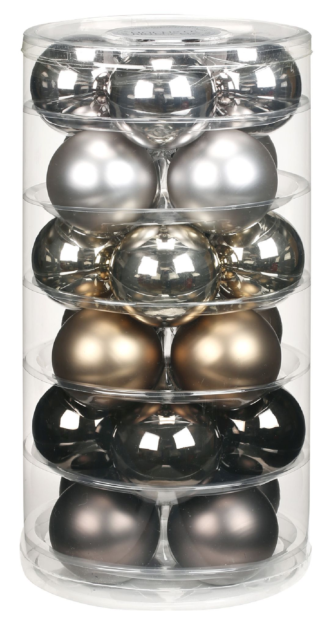 Glaskugeln / Christbaumkugel 15090 GRAU-URBAN-GRAPHIC-MIX 60mm  24Stück