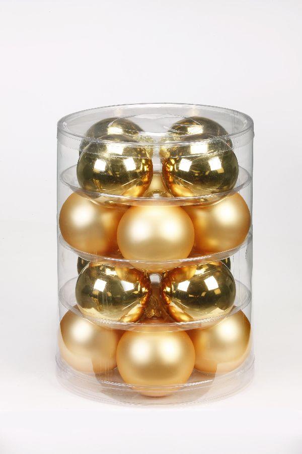 Glaskugeln / Christbaumkugel GOLD GLANZ/MATT 75mm 16St.