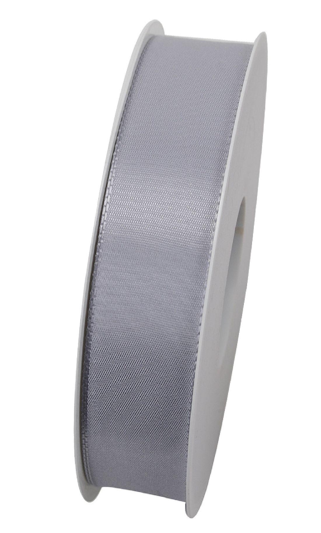 Basic ohne Draht / Taftband HELLGRAU 05 25mm 50m