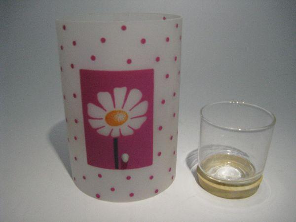 Windlicht Blume mit Glas PINK