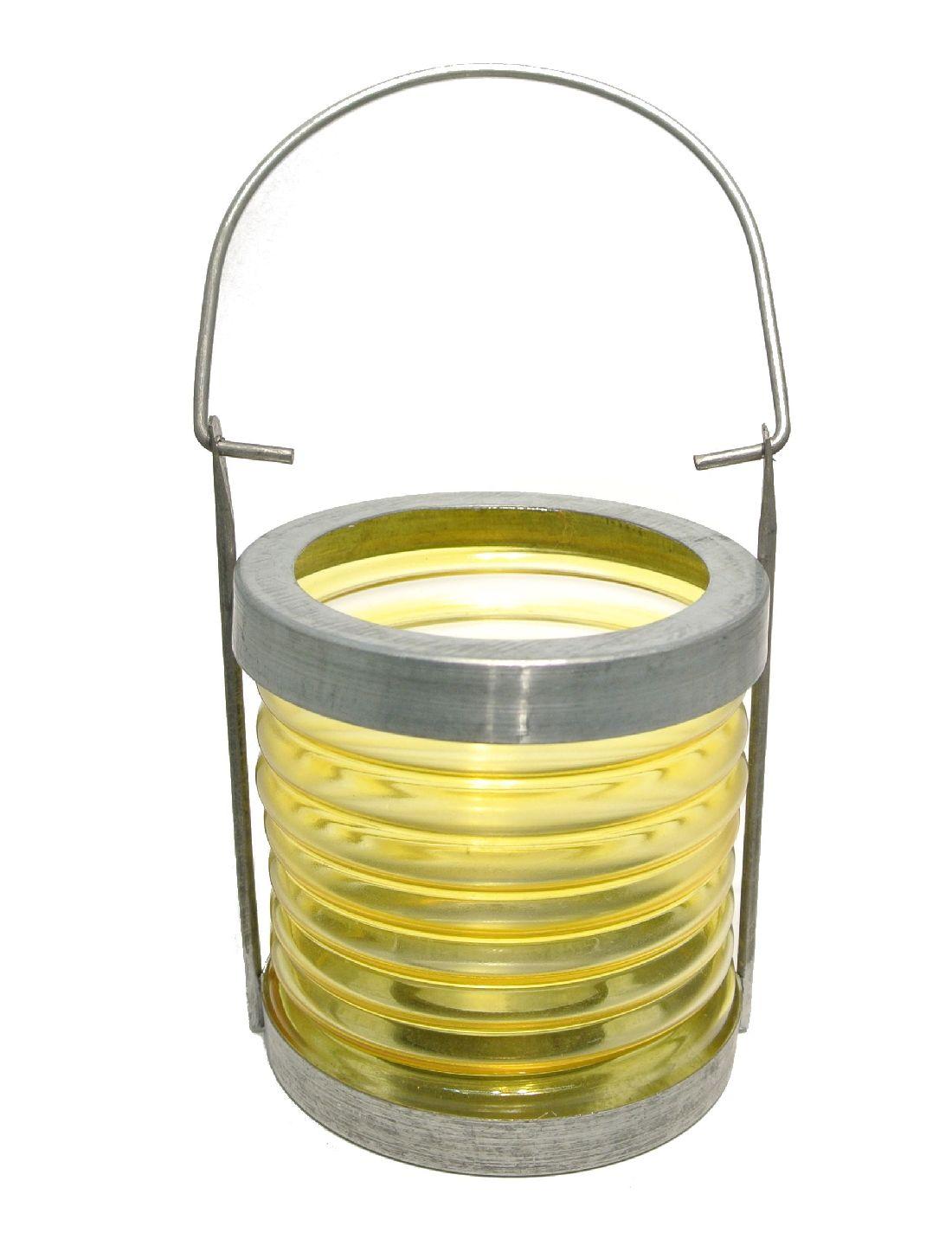 Lampion z. Hängen Glas/Metall GELB 9*19cm