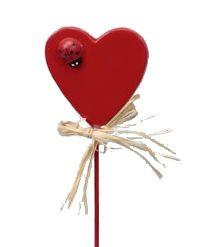 Herz mit Marienkäfer am Stab ROT 320750 48Stück 4cm geschlossenes Herz