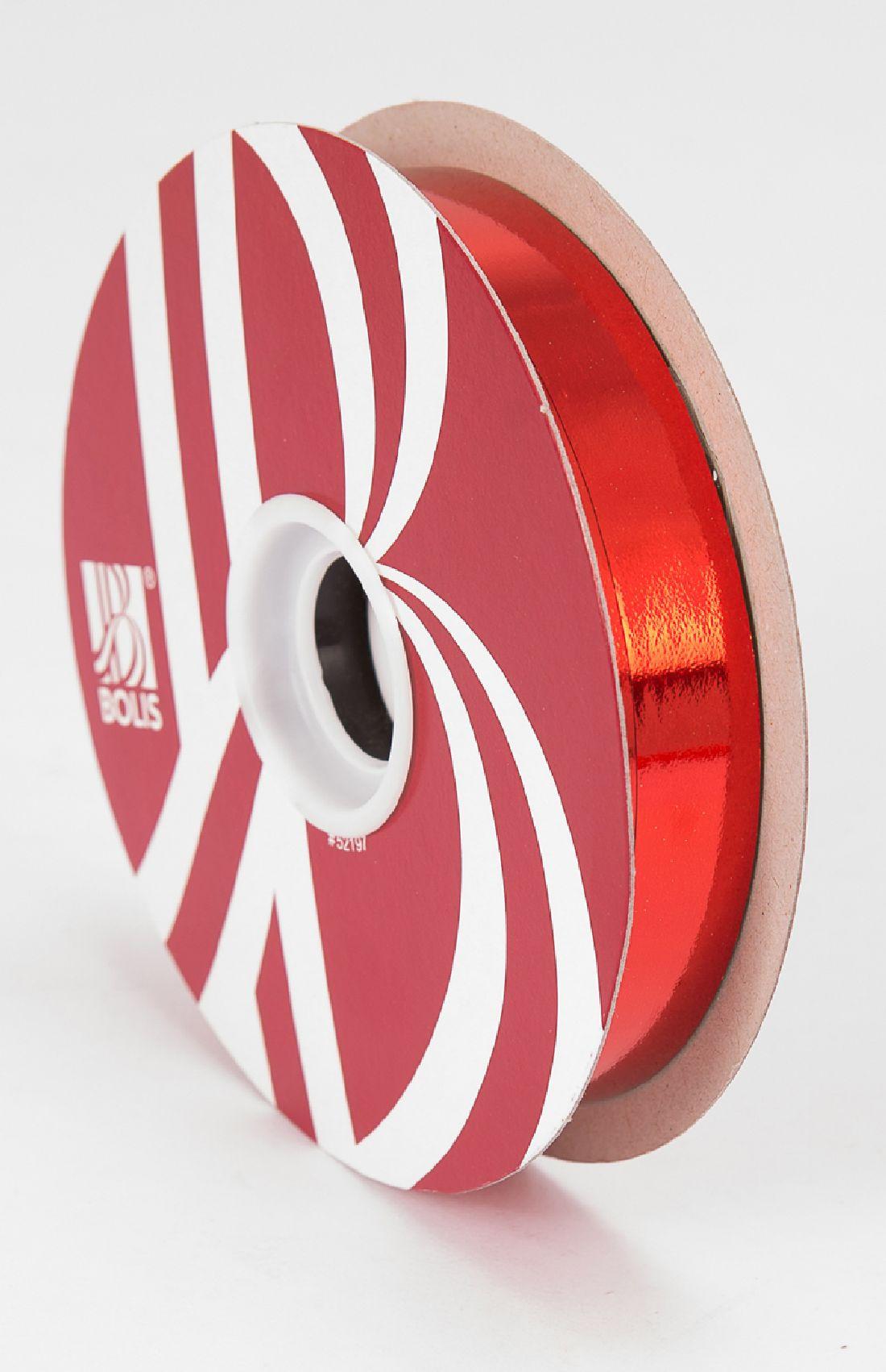 Kräuselband metallic, Ziehband ROT 01 Geschenkband 19mm 100Meter