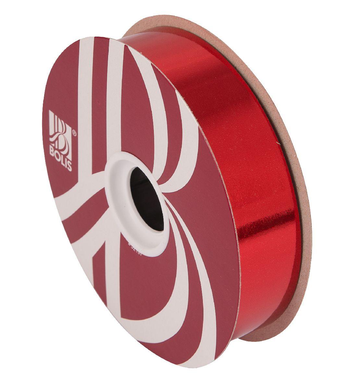 Kräuselband metallic, Ziehband ROT 01 Geschenkband 30mm 100Meter