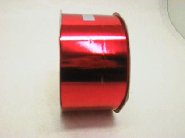 Kräuselband metallic, Ziehband ROT 01 Geschenkband 70mm 100m