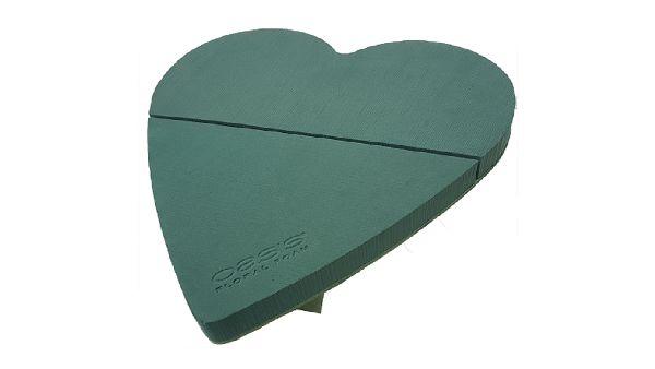 Oasis® Bioline® GRÜN mit Holzunterlage Herz Mia 52x52x5cm 11-07415