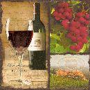 Servietten 33cm Design WEINROT-GRUEN italienischer Rotwein