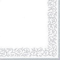 Servietten 33cm Design SILBER-WEISS Romantic Border