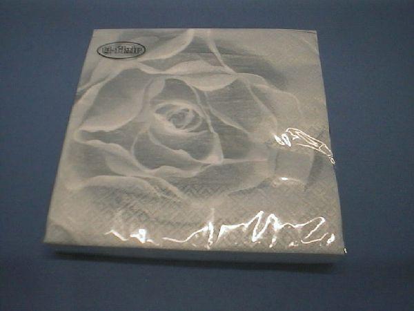 Servietten 33cm Design SILBER Scent of a Rose