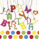 Servietten 33cm Design BUNT Happy Birthday