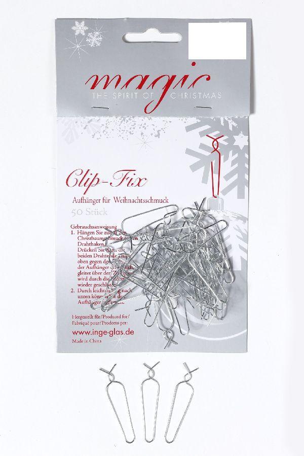 Clip Fix Aufhänger SILBER 19000750 4cm 50 Stück für Weihnachtsschmuck