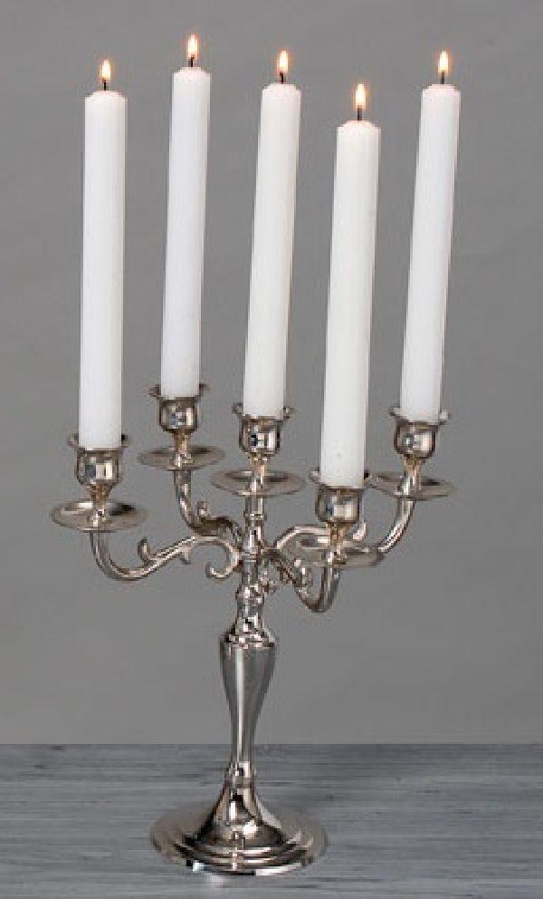 Kerzenleuchter messing vernick SILBER 26cm  5-armig