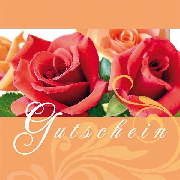 Gutschein Rote und orange Rosen Merci Gutschein 12 cm