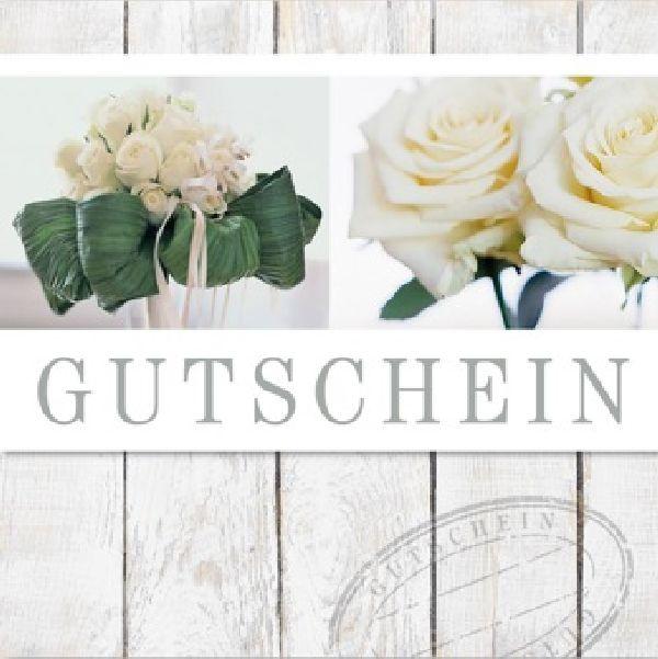 Gutschein Holz weisse Rosen D-6344 Merci Gutschein 12 cm