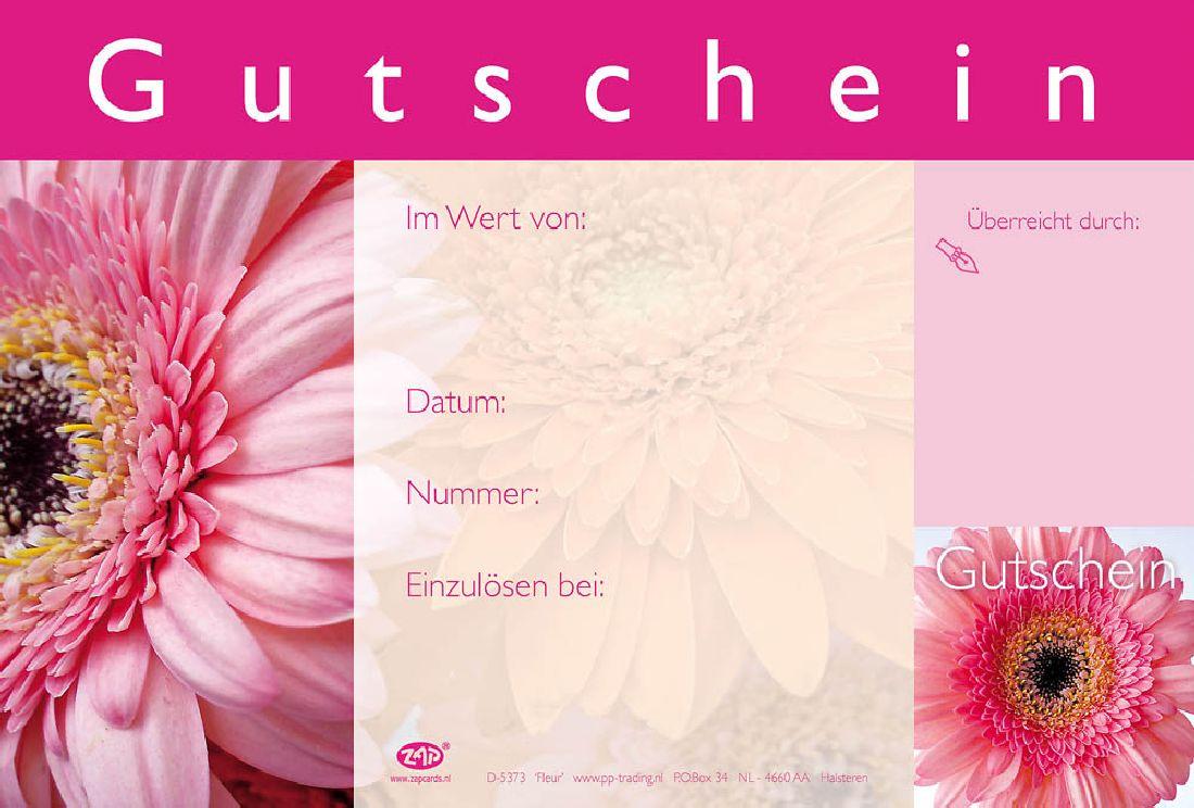 Gutschein PINK GERBERAS 17,2x11,4cm D-5373 Fleur Gutschein